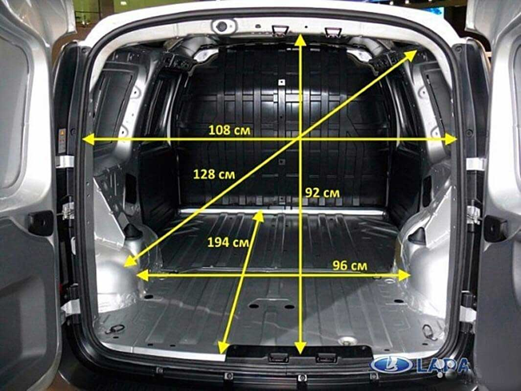 "Размеры грузового отсека автомобиля ""Лада Ларгус"" (фургон)"